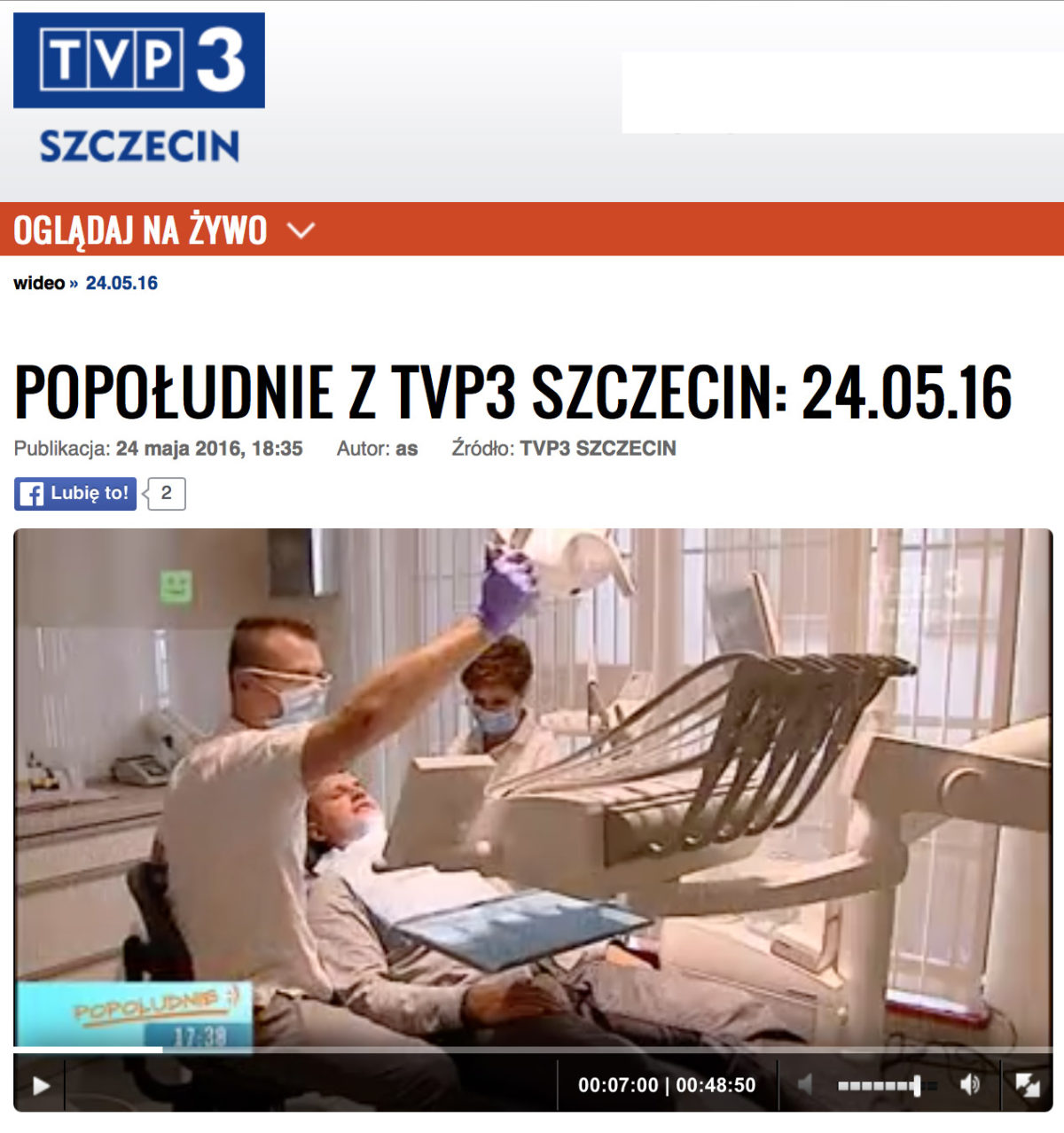 Klinika Koryzna implantologia i stomatologia w TVP3 Szczecin