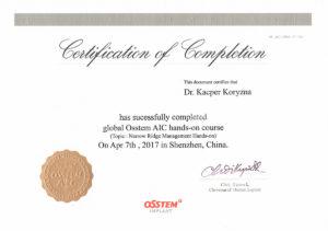 Certyfikat Osstem Implant